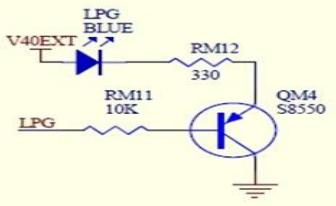 图 2- LPG 参考电路LED 和 PIN 脚的状态:LED 灭为高电平,LED 亮为低电平。
