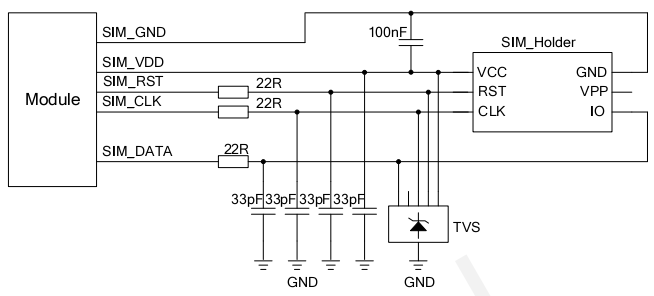 图 21:6-pin SIM 卡座参考电路图